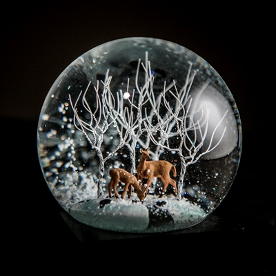 Deer in Woods Snow Globe Liz Ross